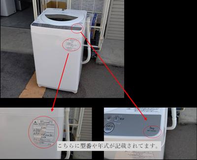 洗濯機型番、年式の確認方法